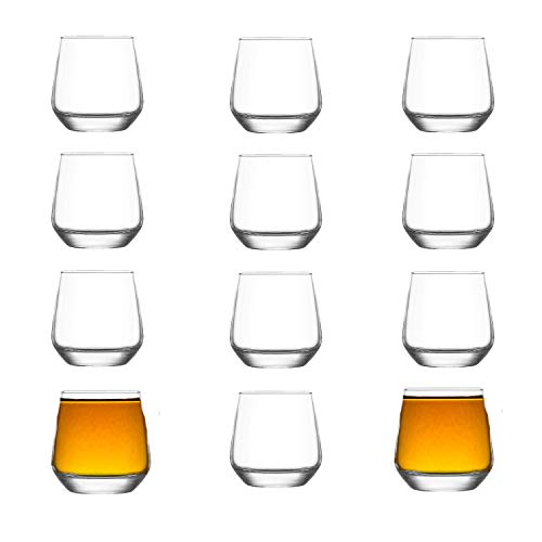 Vikko 3.25 Ounce Shot Glasses: Set of 12 Small Liquor and Spirit Glasses - Durable Tequila Bar Glasses For Alcohol and Espresso Shots - 12 Piece Shooter Glass Set (LAL)