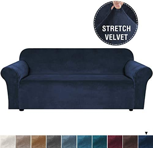 Best H.VERSAILTEX Stretch Velvet Sofa Covers for 3 Cushion Couch Covers Sofa Slipcovers with Non Slip Str
