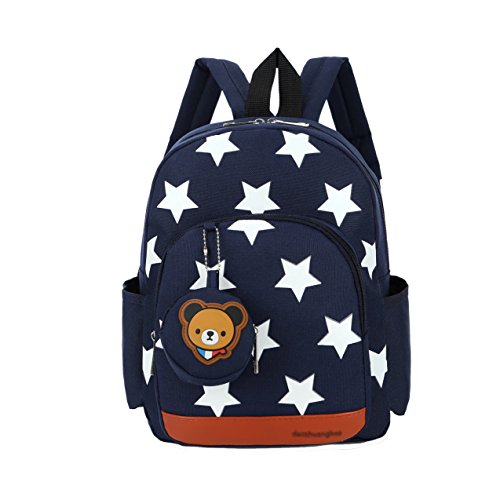 Flyingsky Durable Five-Pointed Star Bear Coin Purse Backpack for Kids (Dark Blue)