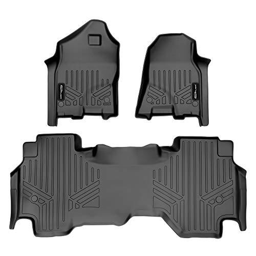 MAXLINER Custom Floor Mats 2 Row Liner Set Black for 19-20 Ram 1500 Quad Cab Vinyl Floor without Rear Underseat Storage Box