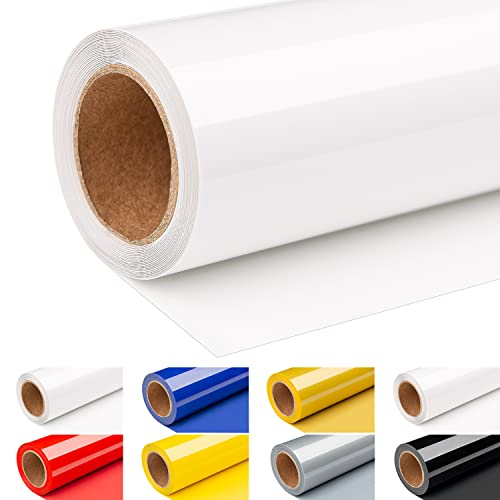 Finewind HTV Heat Transfer Vinyl Roll - 12' x 8 FT Iron on Vinyl for All Cutter Machines Easy to Cut and Weed White Heat Transfer Vinyl for Shirts, Pillows, Hand Bags, Hats (White)