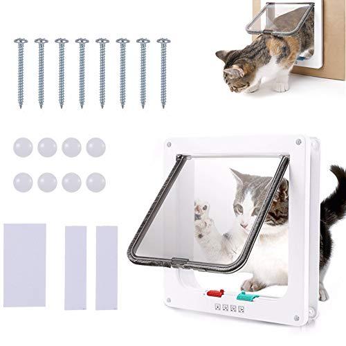 Porta per cani e gatti, 4 vie, chiusura extra large, per porte interne, resistente alle intemperie, per gatti, 23,5 x 25 x 5,4 cm, porta per cani, porta per gatti, patta per animali