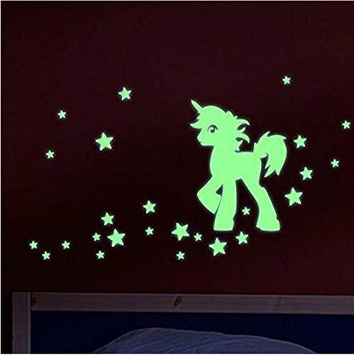 Etiqueta de la pared Nuevo Tallado Pegatinas Luminosas de Dibujos Animados Unicornio Caballo Sala de estar Dormitorio Baño Fluorescente Etiqueta de la pared Bonito regalo para los niños