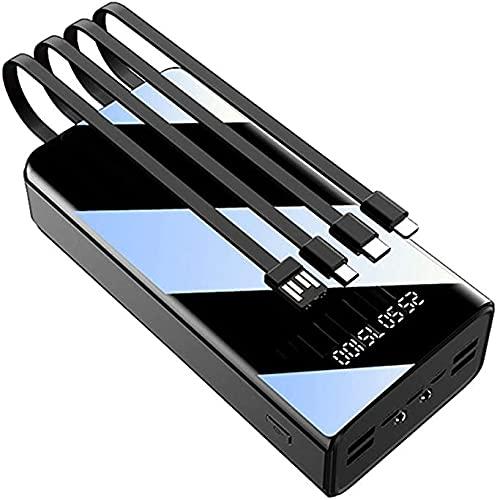 N - A Batería Externa 50000Mah Power Bank con 4 Cables Integrados(4 Entradas Y 7 Salidas) Cargador Movil Portátil con Linterna LED Y Pantalla LCD Bateria Portatil para Smartphones Tabletas, Etc,Negro