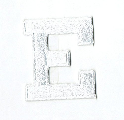 Alphabet Letter - E - Color White - 2' Block Style - Iron On Embroidered Applique Patch
