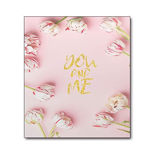 Pfingstrose Blume Wandbild Malerei auf Leinwand Kunst Rosa Poster Wandmalereien für Mädchen Wohnzimmer Dekor 50x70cm