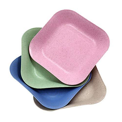 Goter 4 PCS Platos de Cena de Paja de Trigo de 7pulgadas, Aptos para lavavajillas, Ligeros, sin BPA, para Ensalada/Pastel/postres, para bebés, niños, anticaídas,(Cuadrados, 4 Colores) (4 PCS)