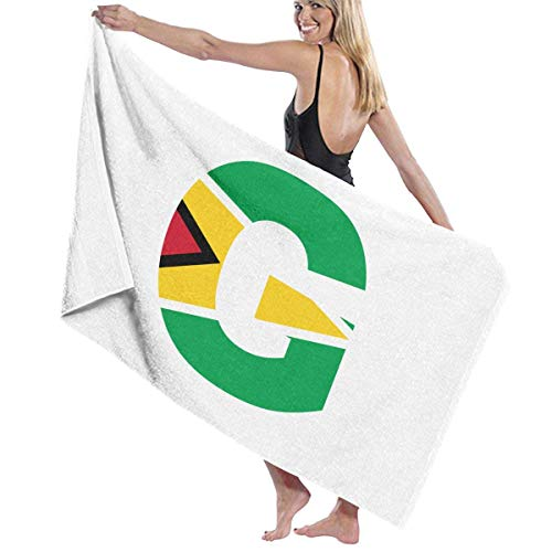 Tcerlcir Strandtuch Badetuch Saunatuch Duschtuch Ultra Leicht Handtuch Schnelltrocknend Saugfähiges Sporthandtuch G Brief Guyana Flagge 130X80cm