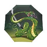 Paraguas de serpiente china verde para mujer y hombre, cierre automático, tamaño pequeño, plegable, 3 unidades