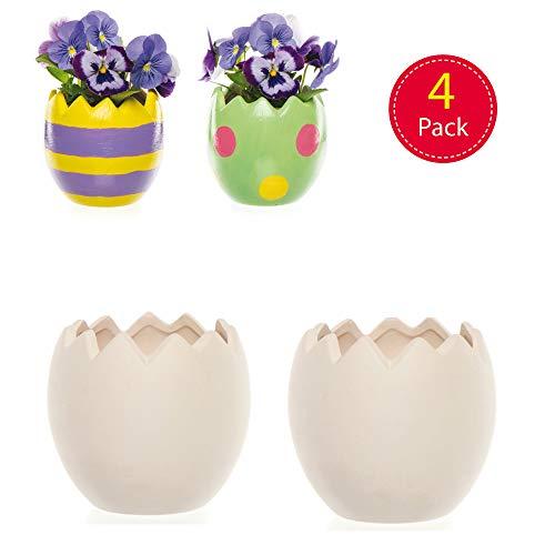 Baker Ross Vasetti in Ceramica a Forma di Uova di Pasqua per Bambini, Dipingi Decorazioni in Ceramica da Esporre come Creazioni fai da te Primaverili (Scatola da 4)
