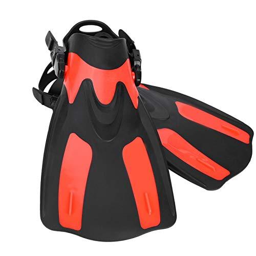 DAUERHAFT Forro Ajustable Flexión Flexible PP + TPR Aletas de natación Cara Ancha palmeada, para Buceo(Red, Small)