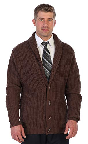 Gioberti Men's Toggle Button Cardigan Knitted Regular Fit Sweater, Brown, Large