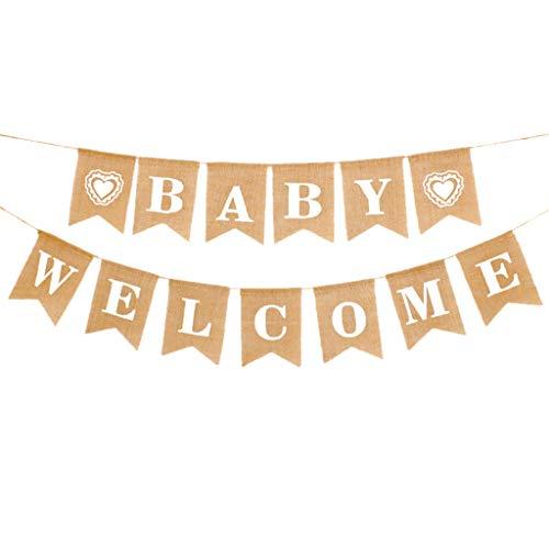 Vintage Leinen Welcome Baby Banner Willkommen Baby Banner Rustikal Leinen Buchstaben Wimpel Girlande 2.8 M Haus Dekoration für Zuhause, Party, Empfang, Babyparty Wimpelkette mit 13 STK Wimpeln