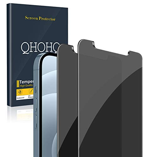 [2 Pack] QHOHQ Privacy Screen Protector for iPhone 12 Pro Max [6.7'],Anti-Spy Tempered Glass Film,9H...