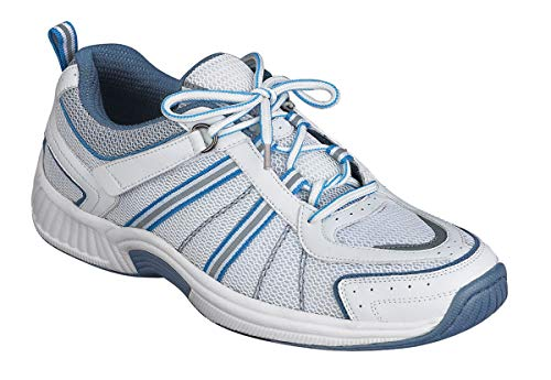 Orthofeet Best Plantar Fasciitis Relief, Orthopedic Sneakers. Extended Widths. Arch Support Diabetic Women's Athletic Shoes Tahoe White/Blue