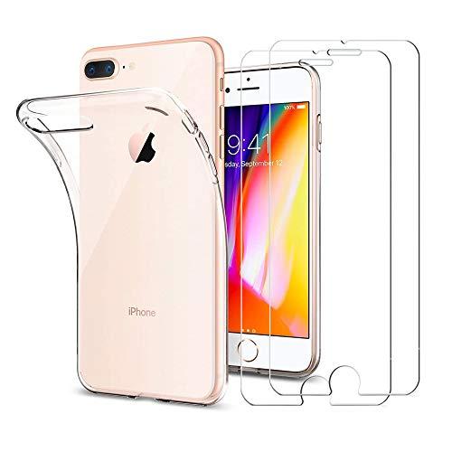 iPhone 7 plus Schutzfolie +Hülle Case, ILUXUS Panzerglas iPhone 7 plus Displayschutzfolie, 9H Härtegrad Transparenz HD, Ultra-Transparente felxible TPU Silikon Handyhülle Crystal Hülle
