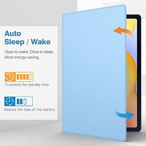 TiMOVO Hülle Kompatibel mit All-New Samsung Galaxy Tab S6 Lite 10.4 Inch 2020 (SM-P610/P615), PU Leder Glasfaser Schlank Schutzhülle Magnetisch Ständer Auto Schlaf/Wach Case - Hellblau
