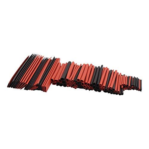 UEETEK Tubo Termoretr/áctil Funda Termoretr/áctil Manguitos del Cable 150 piezas rojo + negro