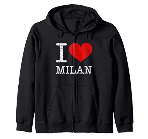 I Love Milan Italy Milano Vintage Classic Red Heart gift Felpa con Cappuccio