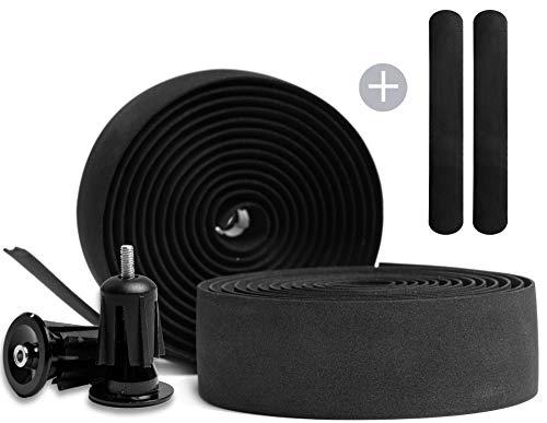 Kellago Langlebiges Profi Lenkerband in schwarz 2X Aluminiumendkappen/Griffband für Rennrad aus extra robustem und griffigem Schaumstoff incl. Klebestreifen/Fahrrad (2. mit Endkappen)
