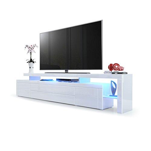 Meuble TV Bas Leon V3, Corps en Blanc Haute Brillance/Façades en Blanc Haute Brillance avec Une bodure en Blanc Haute Brillance