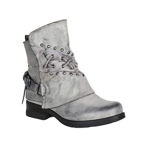 Elara Damen Stiefeletten Biker Boots Chunkyrayan 1079-PA Grey-38