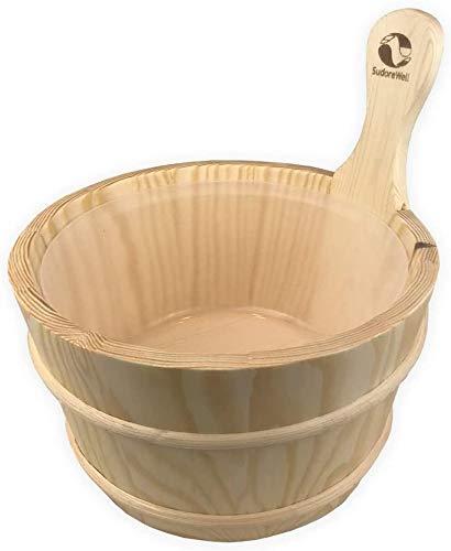 SudoreWell® Saunakübel Saunaeimer aus Kiefernholz mit Einsatz