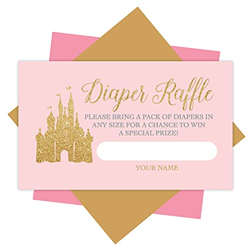 25 Baby Shower Diaper Raffle Tickets For Baby Shower Girl - Princess Baby Shower Games For Girls, Diaper Raffle Cards, Baby Raffle Tickets, Baby Shower Invitation Inserts, Baby Shower Ideas
