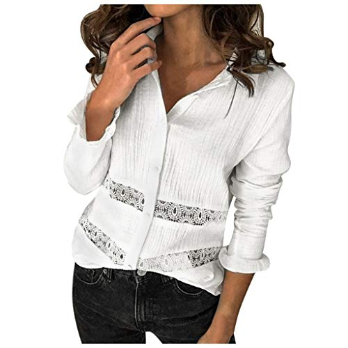 Damen Tops Lässig Plus Size Solid Vintage Langarm Spitze Fashion Shirt Bluse