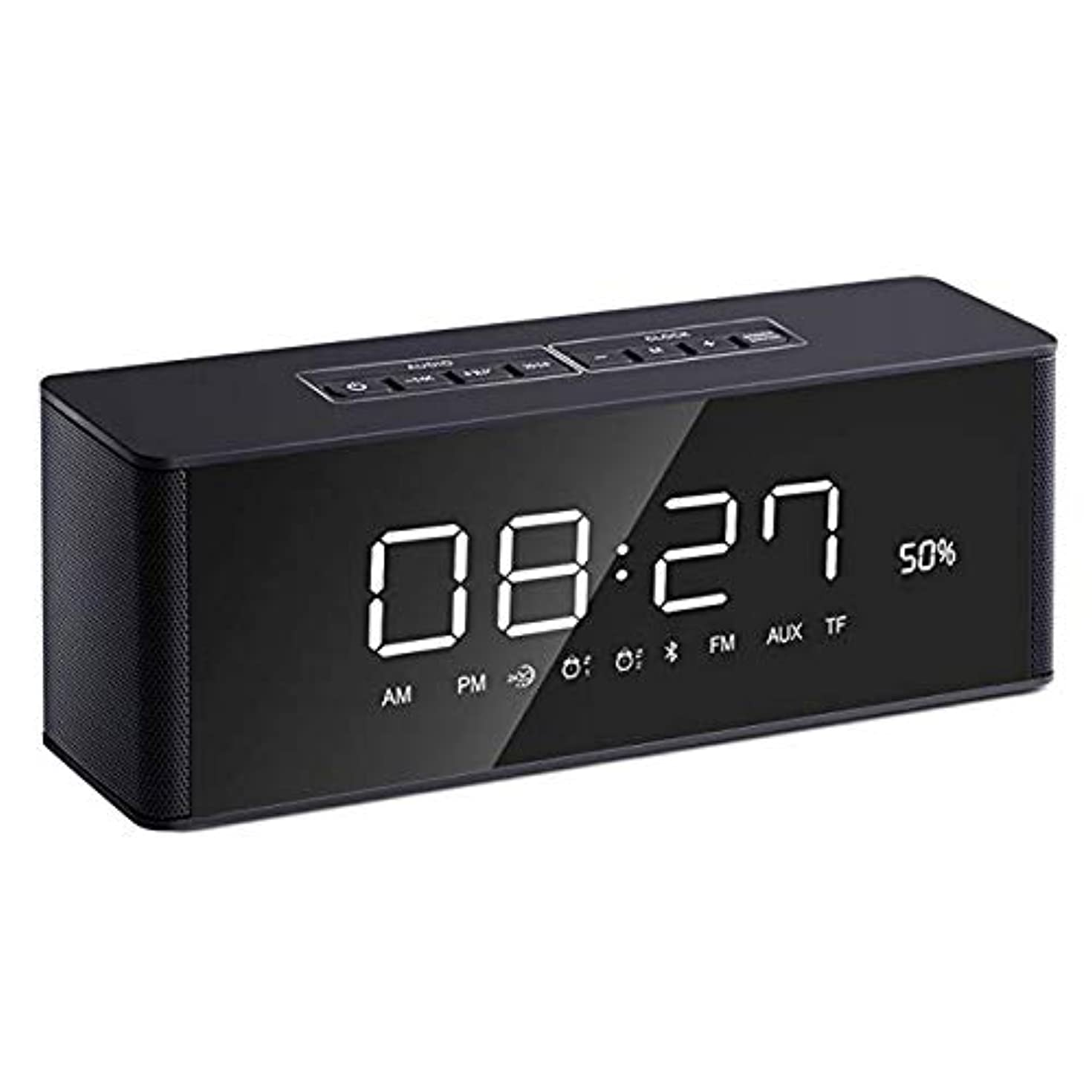 Alarm Clock Radio Bluetooth Speaker [2019 Upgraded] with Digital FM Stereo, Dimmable LED Display, Dual Alarm, Snooze, AUX-in for Bedrooms