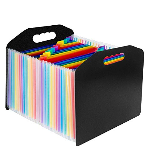 Expanding File Folder 24 Pockets, OUSL A4 Letter Size Expandable File Organizer with Handle, Monthly Accordion Document Organize (with Handle)
