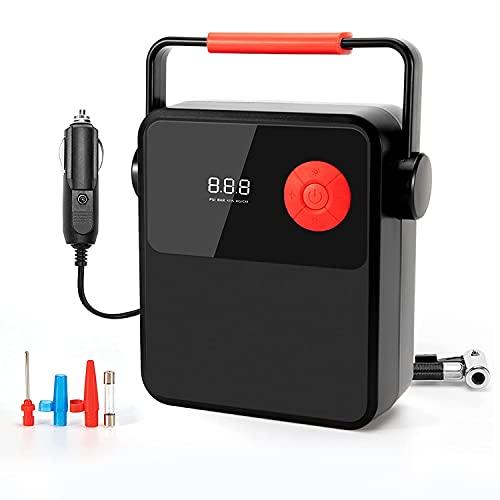 Nirmon Compresor De Aire para Inflar NeumáTicos, Bomba De NeumáTicos De 12 V con Pantalla Digital, Bomba De Aire con IluminacióN LED para Inflables De Bicicleta De Coche