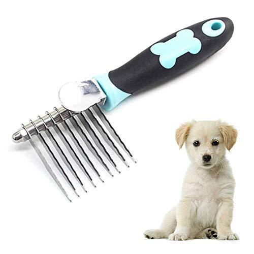 Edelstahl-Kamm-Haustier-Pflegenbürste Anti-Static Haarshedding Comb for langes Haar Hund & Katze mit verschiedenen Spaced abgerundeten Zähnen, Weit Trimmer Kamm (Color : Blue)
