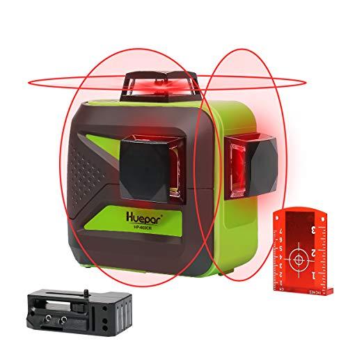 Huepar 603CR 3 x 360 kruislijnlaser rood, 360 graden lijnlaser zelfnivellerend laser niveau met pulsfunctie, 20 m werkbereik, (incl. universele lithiumbatterij, AA batterij en houder)