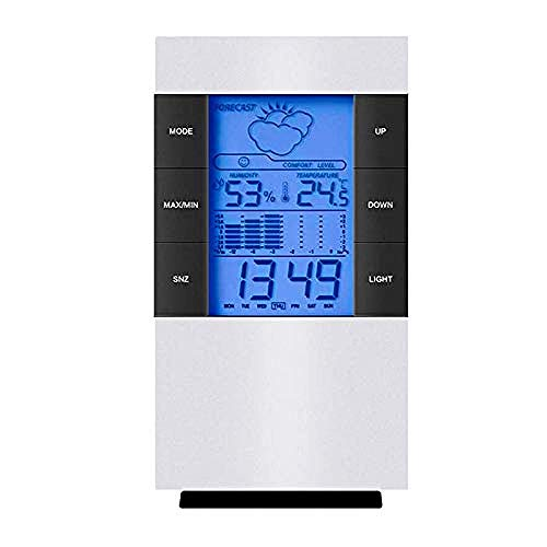 HUIQ Pantalla LCD Digital para el hogar Higrómetro Termómetro Temperatura Medidor de Humedad Reloj Alarma