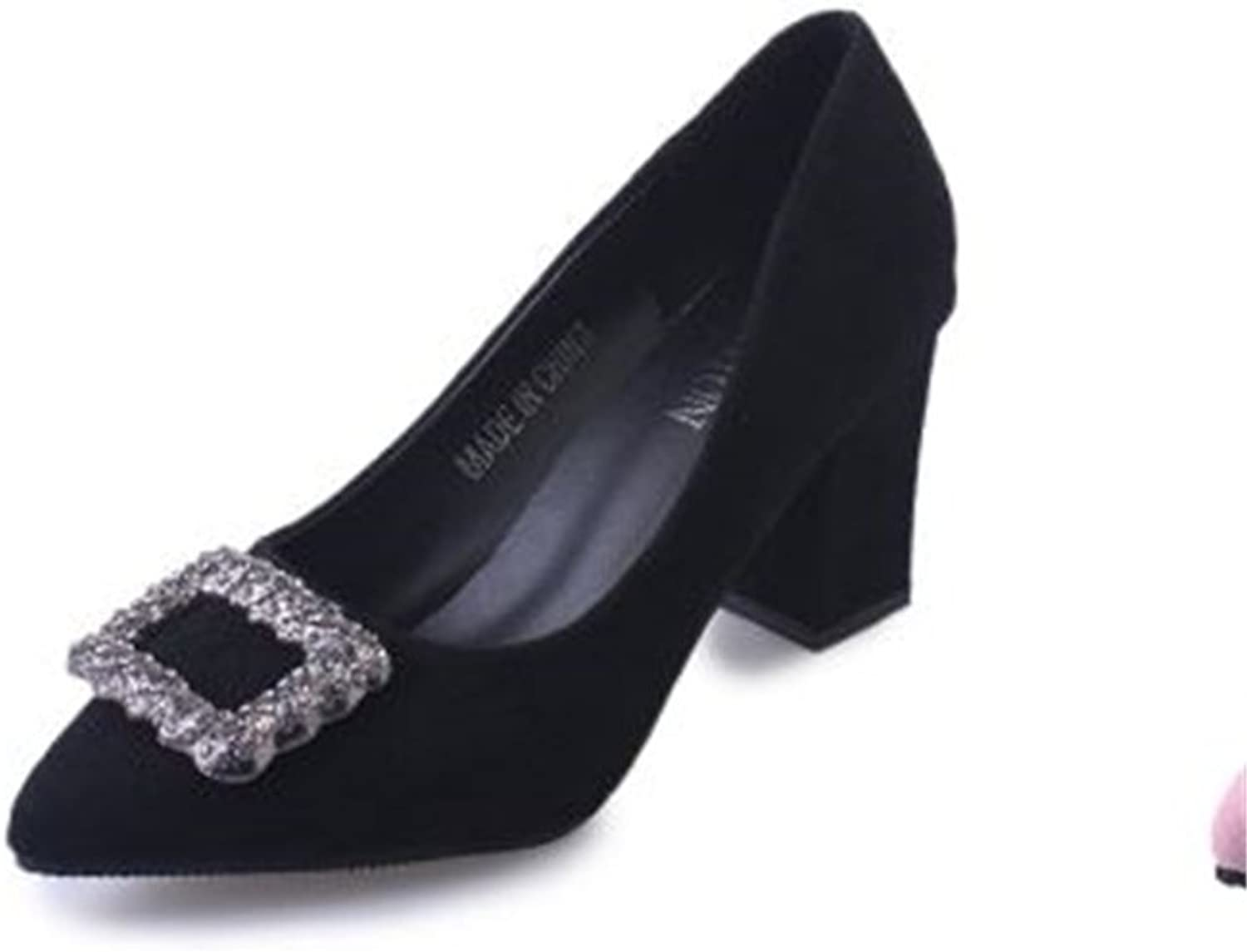 Shallow Mouth Rhinestone Pointed Toe Metal Buckle Soft Ballet Flats shoes