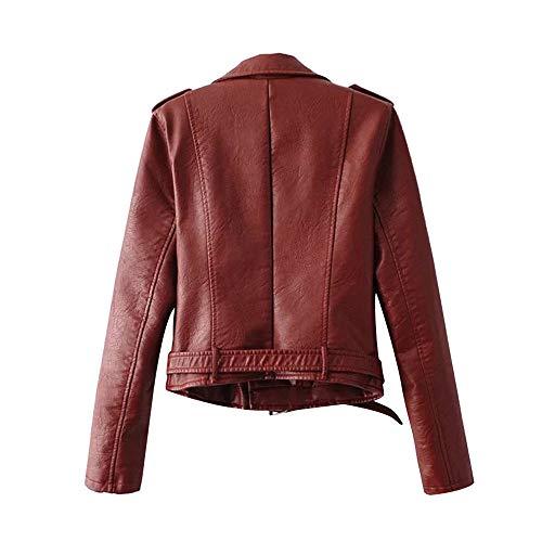 Damen Jacke Übergangsjacke Bikerjacke Lederjacke Kunstlederjacken mit Reißverschluss MYMYG Slim Fit Modische Motorradjacke Bomberjacken Kunstledermäntel (rot,EU:38/CN-L)