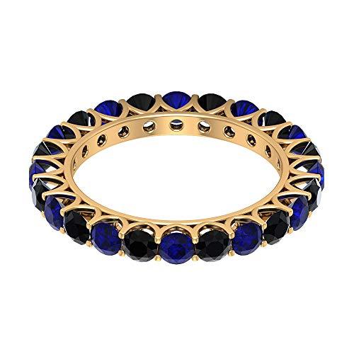 3,00 CTT - Anello eternity con zaffiro blu, 3 mm, con spinello nero, per promessa di compleanno, anniversario, anniversario, madre, damigella d'onore, anelli impilabili, 14K Giallo oro, Size:EU 57