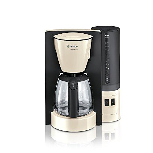 Bosch TKA6A047 ComfortLine Filterkaffeemaschine, Aroma+, Aromaschutz-Glaskanne, Auto-Off wählbar, abnehmbarer Wassertank, 1200 W, creme