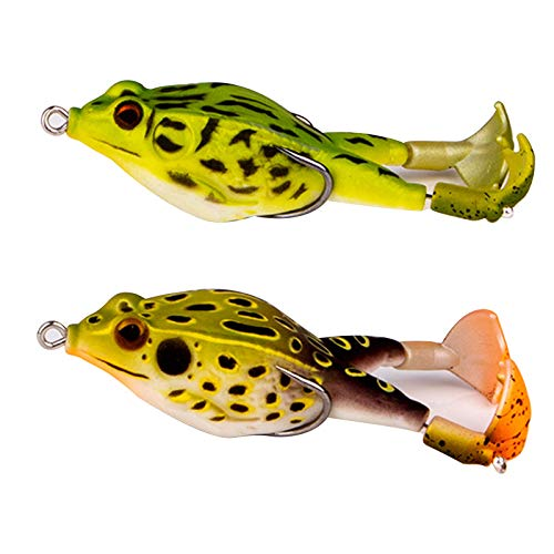 2pcs Double Propeller Frog Soft Bait, Frog Lures, Floating Weedless Baits Kit for Freshwater Saltwater Fishing Lure