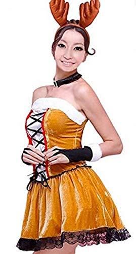 EVRYLON Costume Renna Donna Natale Costume Sexy in ciniglia con Guanti Corna e Collare (Taglia Unica) Idea Regalo Natalizia