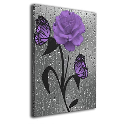 Canvas Prints Giclee Ready To Hang For Home Decoration - Purple Rose And Butterflies Frameless Wall Art Decor Paintings For Home Office Decorations 16'x20'