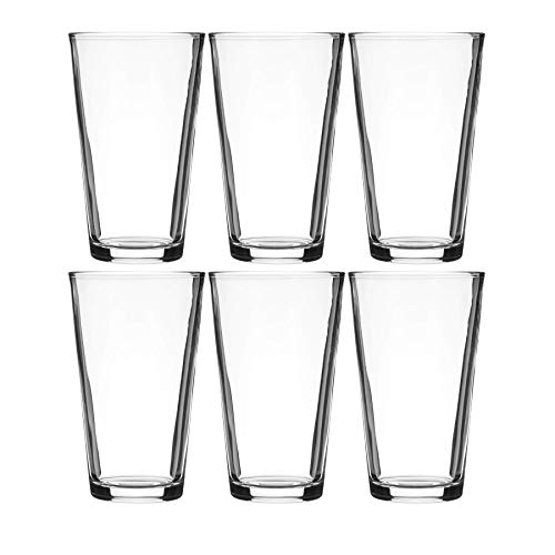Modvera Drinkware Beer Pint Glass 16 Ounce | Versatile Cocktail Shaker Beer Glass | Perfect for the Pub Home Bar or Everyday Use | Ultra Clear Strong Rim Tempered Mixing Beer Glass | Set of 6