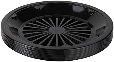 Trenton Gifts 10-Inch Reusable Plastic Paper Plate Holders, Picnic Supplies (12 Set - Black)
