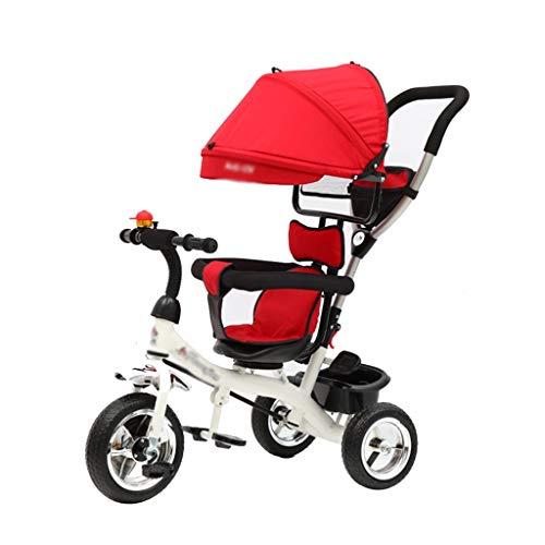 Carritos con capazo Bicicleta De Tres Ruedas para Niños Bicicleta Infanti Niños Cochecito De Bebé De Tres Ruedas Niños (Color : Red, Size : 75 * 105cm)