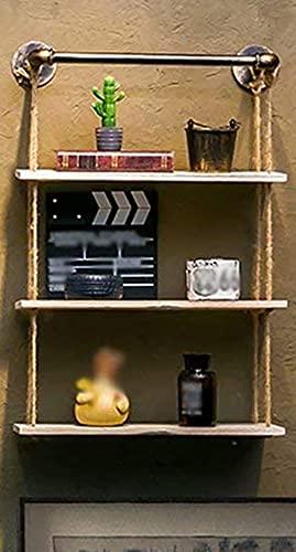 Estantería de pared multifuncional para muebles, estantería de pared de madera, tubo de agua de hierro, cuerda de cáñamo para sala de estar, dormitorio, decoración del hogar A#