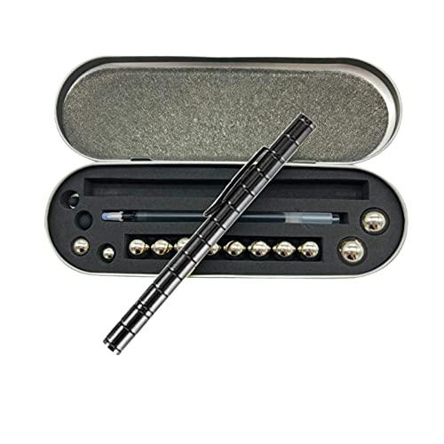 Unionm Magnetic Pen Stress Toys for Adults Magnet Gel Pen Fidget Building Blocks Toys Pressure Fidget Gadgets for Students Bussiness Man Teachers (8#Black)