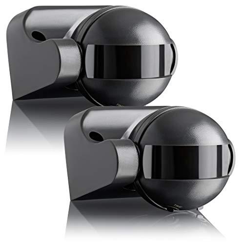 SEBSON 2X Detector de Movimiento Exterior IP44, Montaje Superficie en Pared, programable, Sensor de Infrarrojos, Alcance 12m / 180°, LED Adecuado, orientable