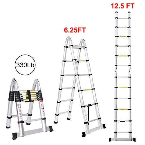 Jiahe12.5FT/3.8M Aluminum Telescoping Extension Ladder Portable Multi-Purpose Folding A-Frame Ladder...