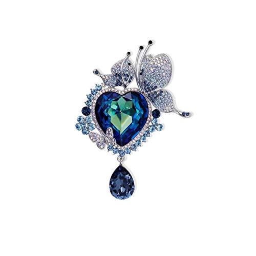 ZWSHOP Broche de cristal azul para mujer, joyera de montaje occidental, utilizado para bodas, banquetes de 8,3 x 5,8 cm